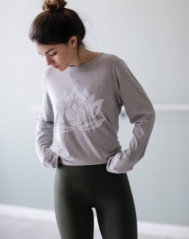 LOTUS Hand Printed Heather Grey Camille Long Sleeve - Haven Collective