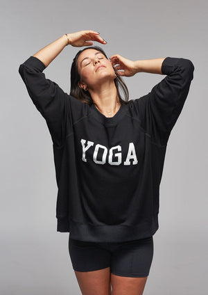 YOGA SWEATSHIRT WHITE ON BLACK - Haven Collective