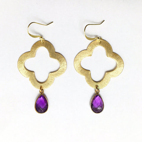 Quatrefoil + Gemstone Earrings