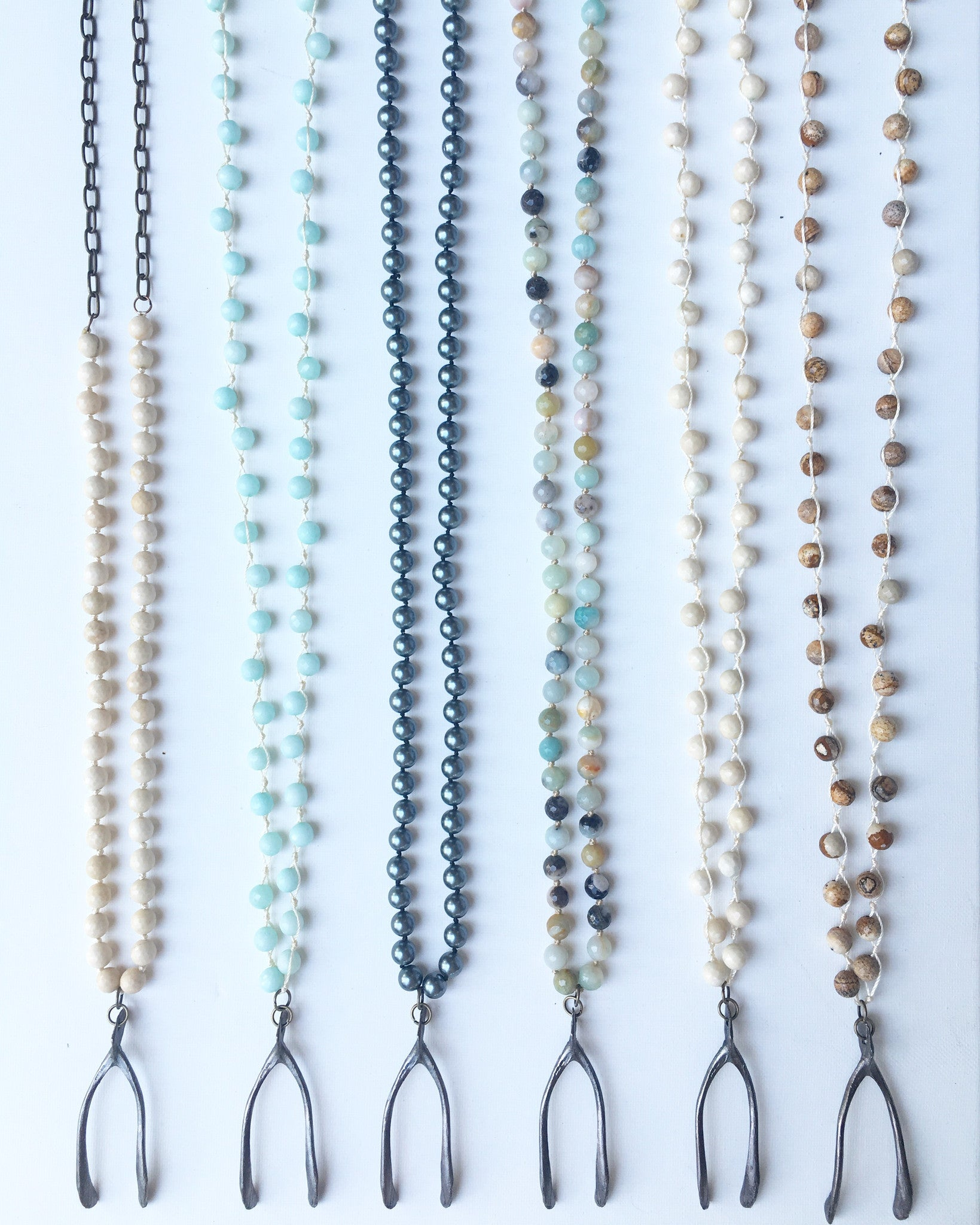 Wishbone and Hand-Knotted Gemstone Beaded Necklace