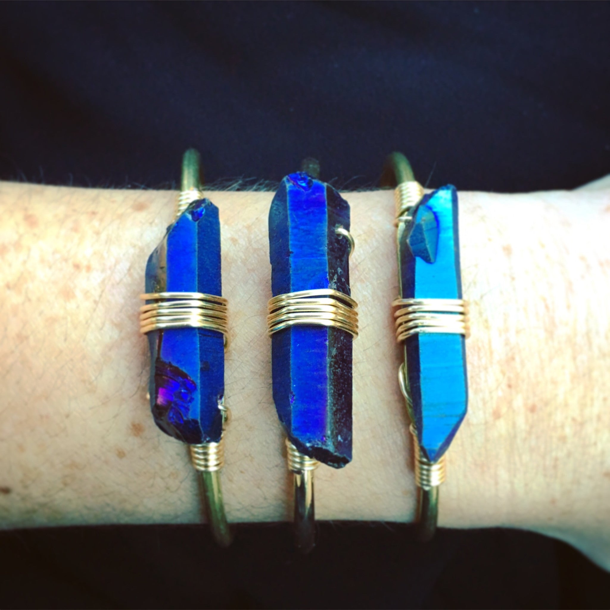 Electric Blue Titanium Quartz Cuff