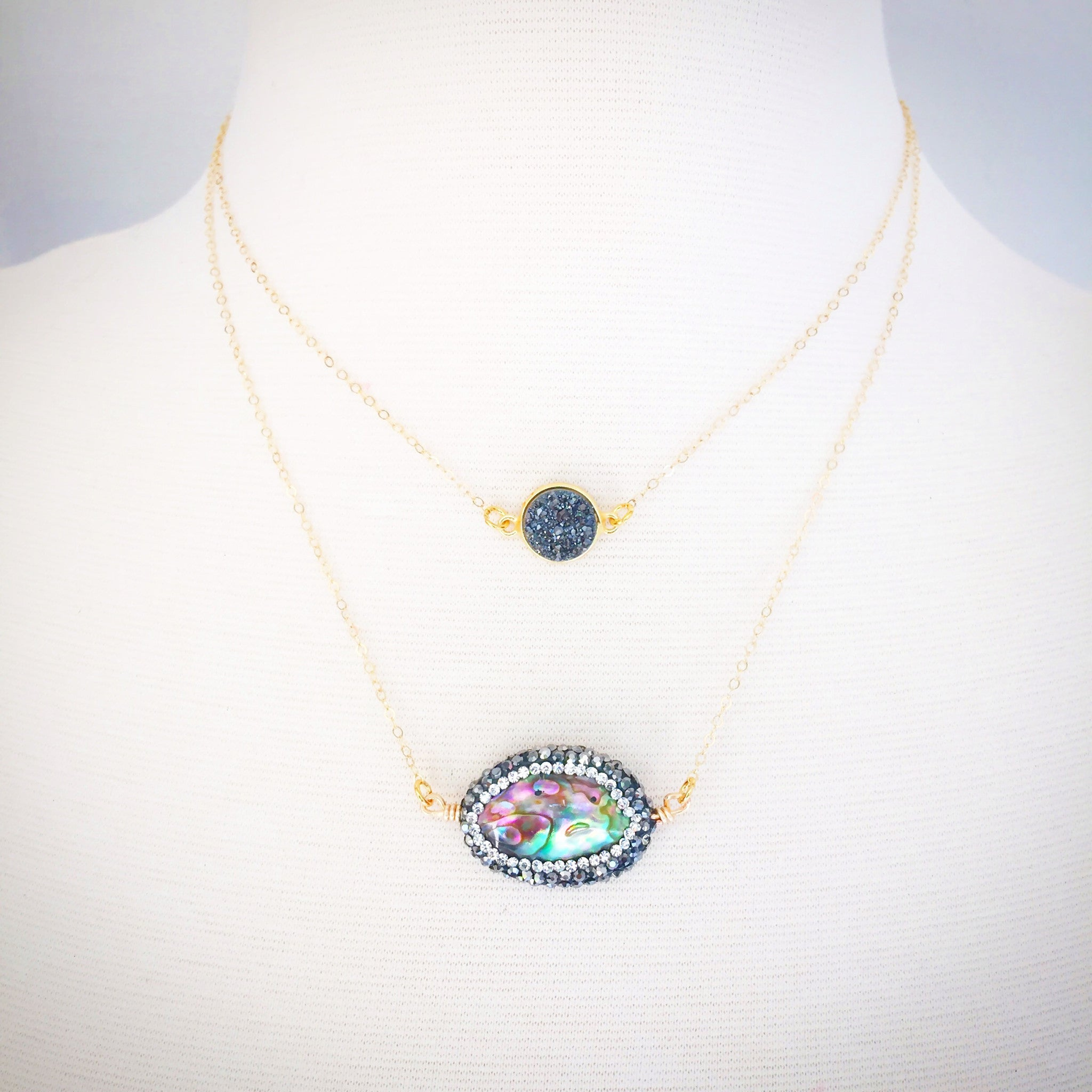 Dainty Pave' Abalone Necklace
