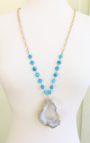 White Druzy + Turquoise Beaded Chain Necklace