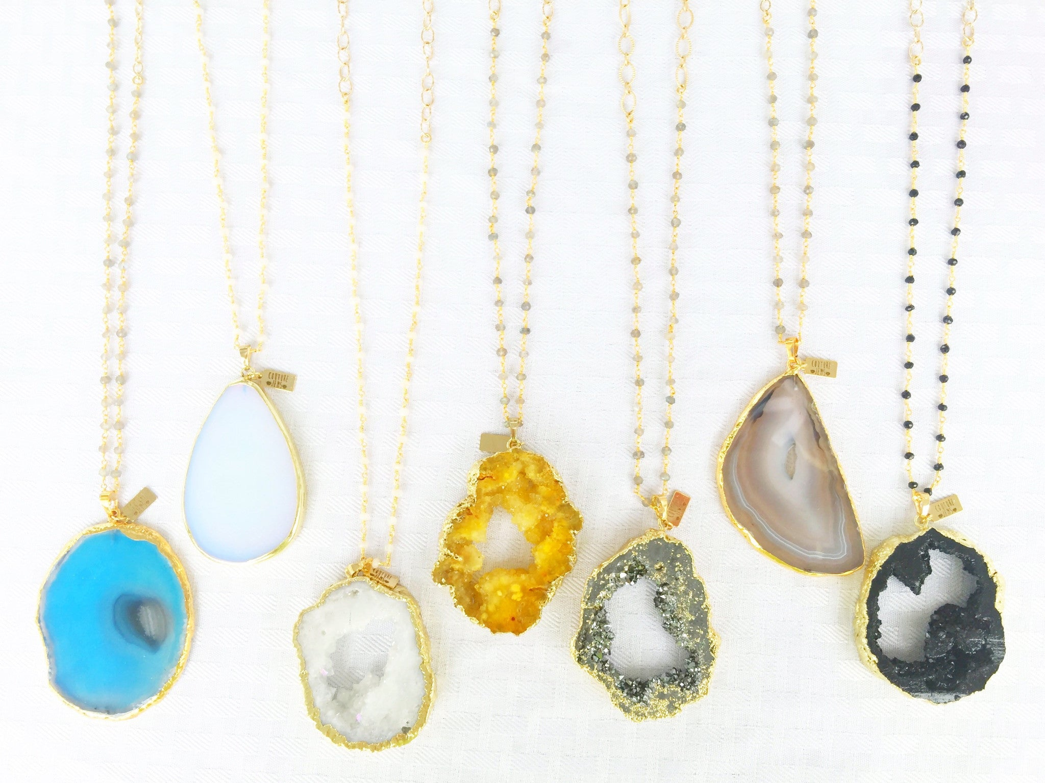 Agate/Druzy + Gemstone Beaded Chain Necklaces