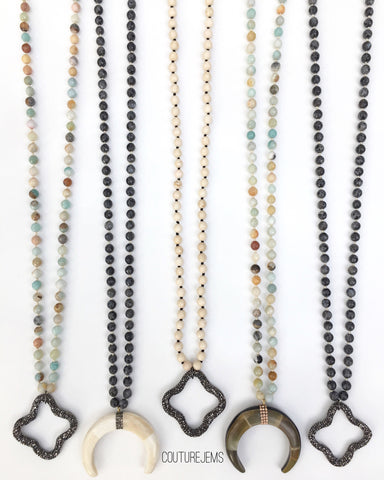 Pavé Quatrefoil & Pavé Crescent Tusk Necklaces