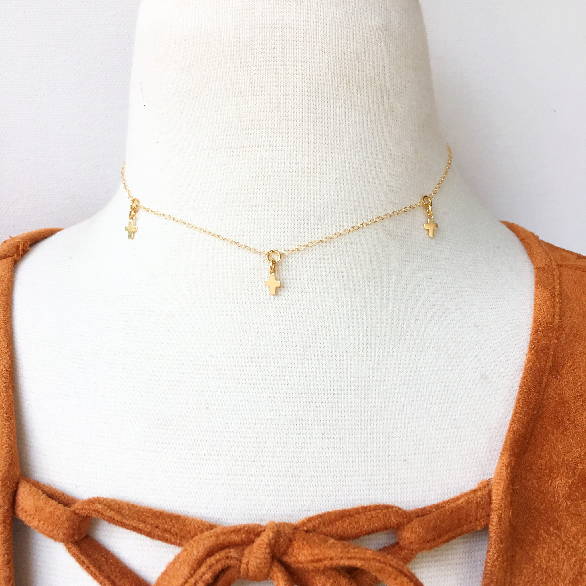 Delicate Cross Choker