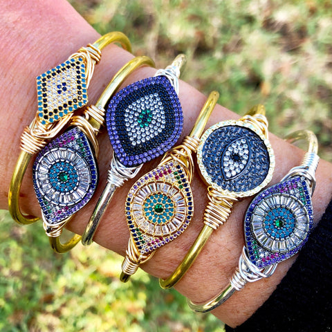 Pave Evil Eye Cuffs