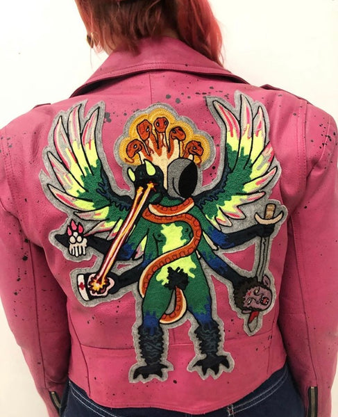 Svetlana Shigroff Custom Chain Stitch Patch + Painted Vintage Leather Jacket