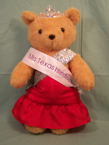Pageant Bear created for Angelique Hoover, Mrs Texas International 2011