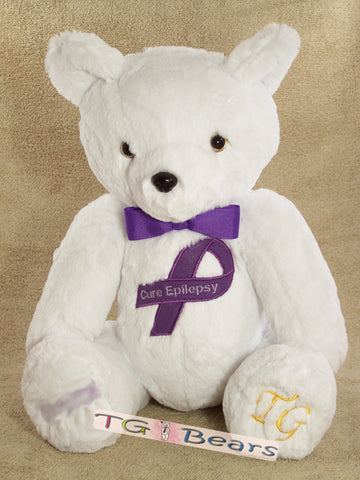 Ale in White | Handmade teddy bear that raises Epilepsy awareness