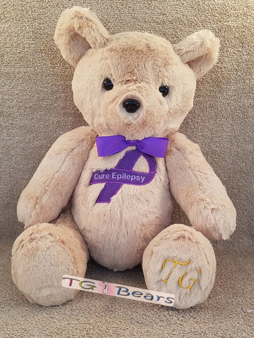 Ale in Camel| Handmade teddy bear that raises Epilepsy awareness