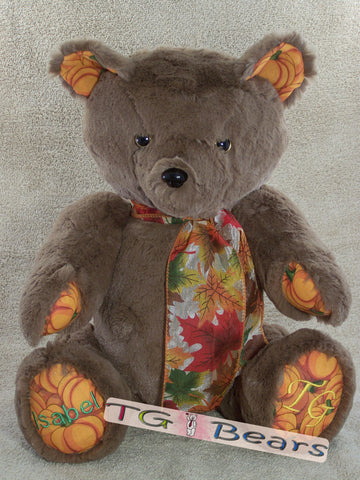 Autumn | Cappuccino colored handmade teddy bear with pumpkin accents