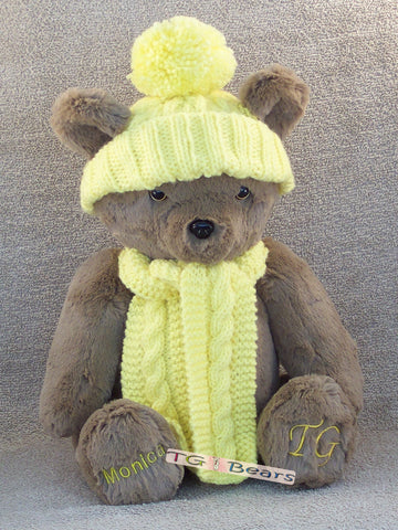 Benny Bear with a beanie and scarf