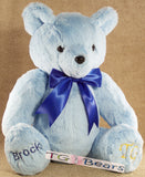 Custom personalized handmade teddy bear in light blue minky.