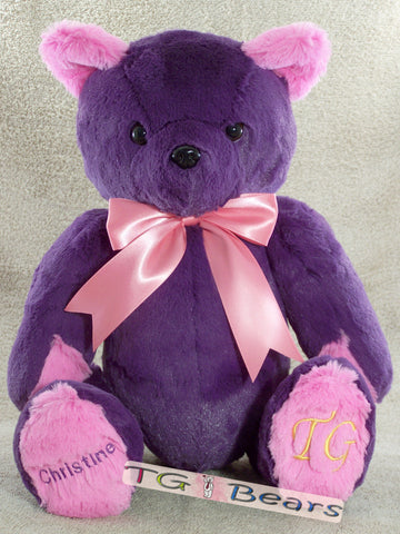 Purple Cassandra Bear with hot pink accents
