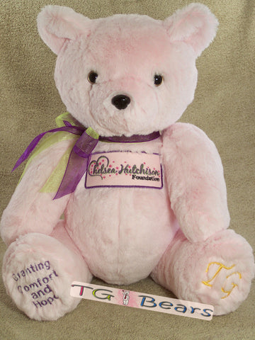 Chelsea Bear, handmade mascot teddy bear for the Chelsea Hutchison Foundation.