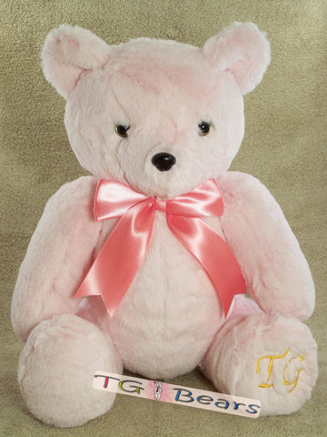 Handmade teddy bear, Cherry Bear wears soft light pink minky fur.