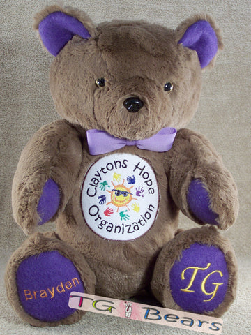Handmade teddy bear for Clayton's Hope Organization and epilepsy awareness