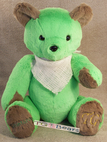 Earth Bear made of lime green fur with cappuccino accents and personalized.