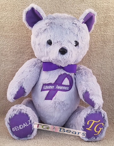 GEO Bear, with bow-tie, raising Alzheimer's Awareness