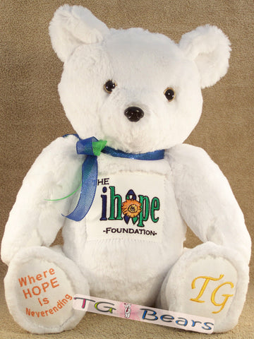 Kathi Bear raising Intracranial Hypertension awareness with white fur
