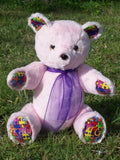 Lucy | Custom Teddy Bear designed to represent awareness colors for conditions