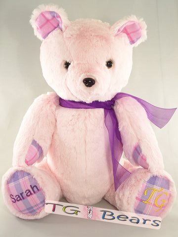 Lucy Bear with pink and purple plaid accents