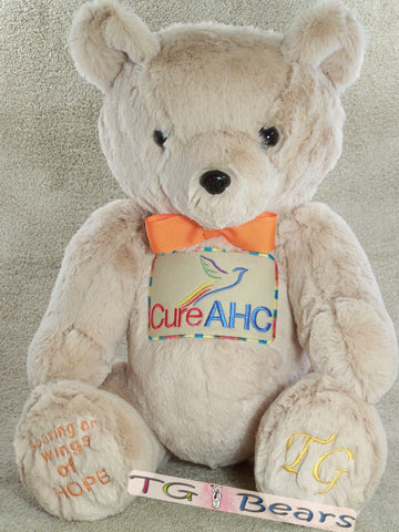 Matthew | Custom handmade teddy bear created for cureAHC - Alternating Hemiplegia of Childhood