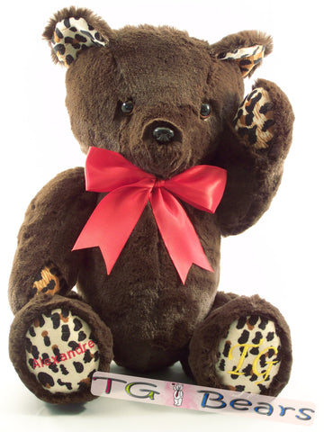 Moyo Bear with chocolate fur and leopard print accents