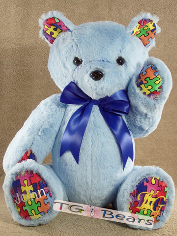Handmade teddy bear to raise Autism Awareness