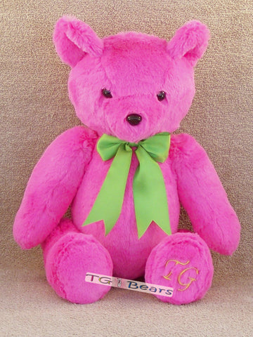Candy | Handmade teddy bear in hot pink minky fur