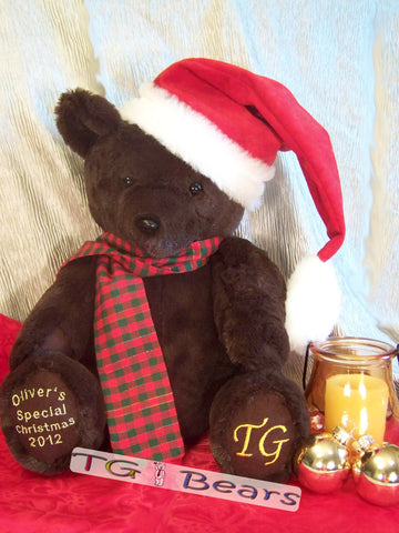 Noel Bear, with his Santa Hat, is the perfect handmade customized teddy bear for the Holiday Season.