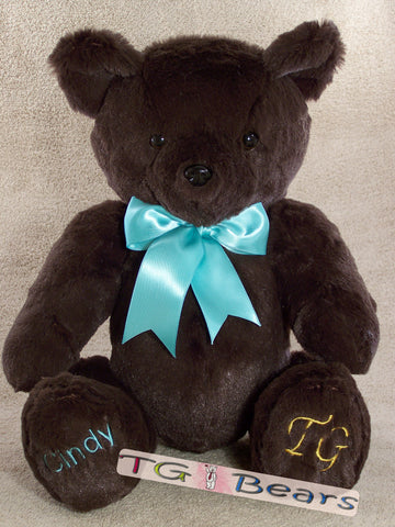 Penelope | Handmade teddy bear with feminine ribbon and chocolate colored fur.