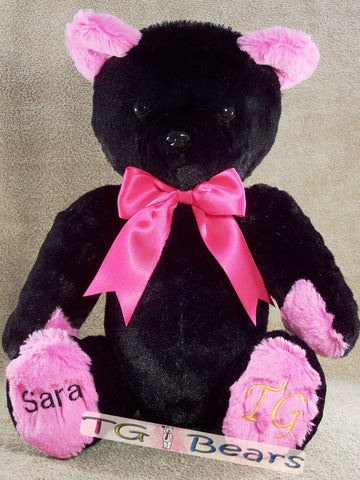 Ramona Bear with black fur and hot pink accents