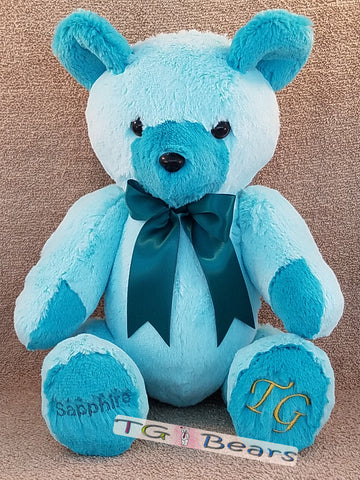 Teal colored handmade teddy bear