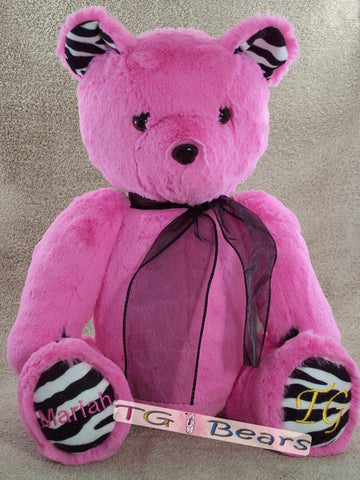 Custom teddy bear with personalization in hot pink with zebra print.