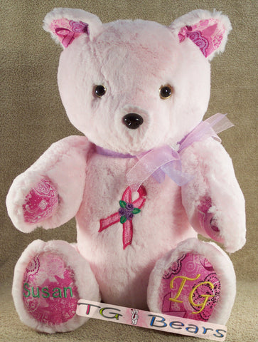 Handmade teddy bear to raise breast cancer awareness and support National Breast Cancer Foundation