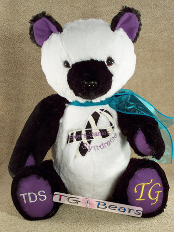 Handmade teddy bear for Ehlers-Danlos Syndrome awareness.