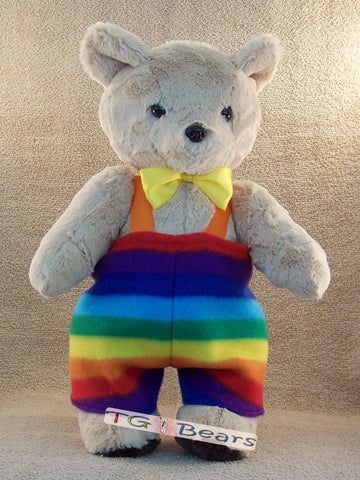 Uncle Edward | Handmade teddy bear with rainbow overalls