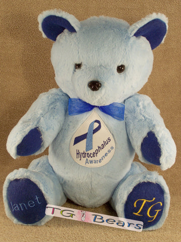 Walter Bear - handmade teddy bear in blue to raise Hydrocephalus Awareness