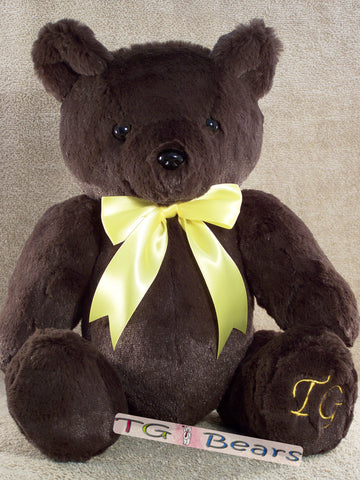 William Bear with a yellow ribbon