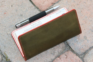 Wickett and Craig Olive checkbook wallet - 010125
