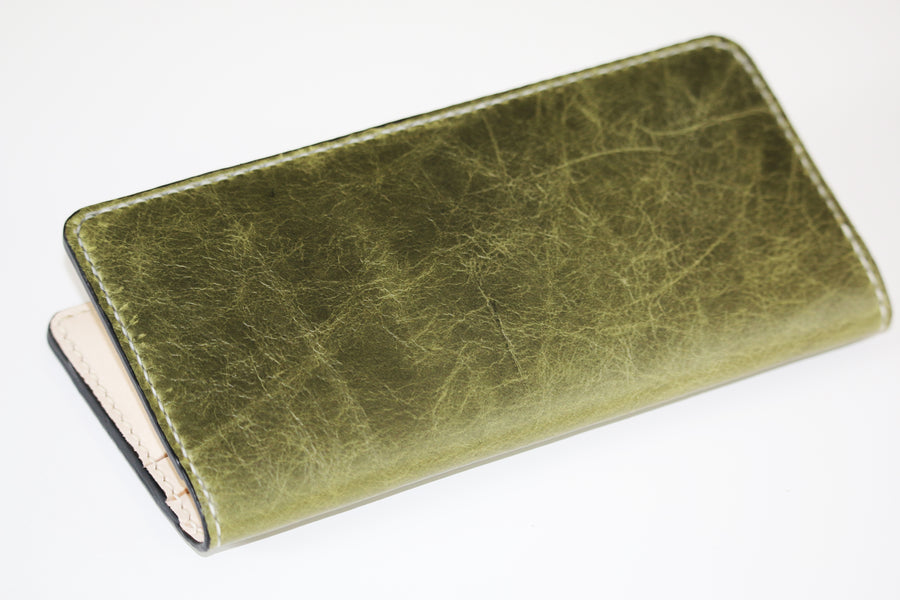 Distressed leather long wallet - 010128