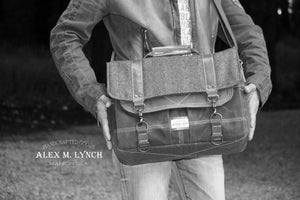 Waxed Canvas and Herringbone Messenger bag - 010130