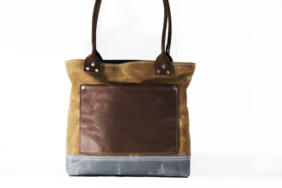 "Waxed canvas tote - heavy weight waterproof canvas bag and genuine leather "" OLD COUNTRY BAG """