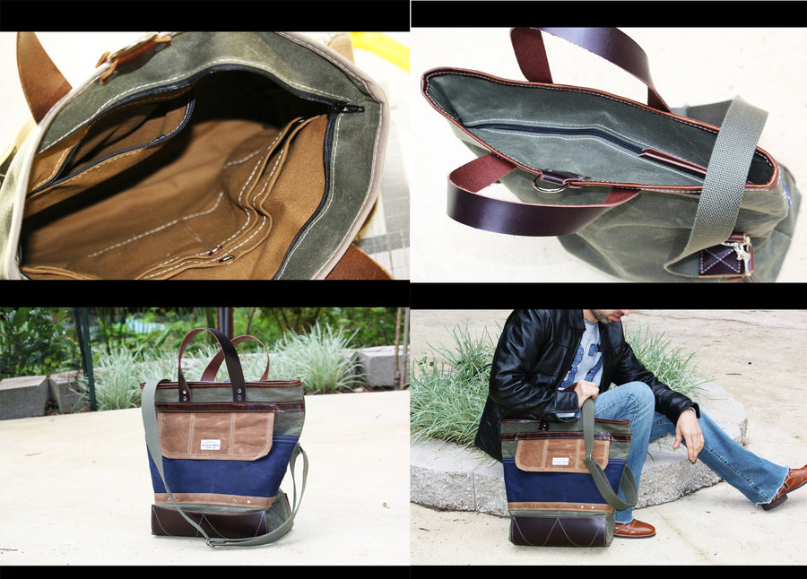 WAXED CANVAS FOLD OVER TOTE #010053