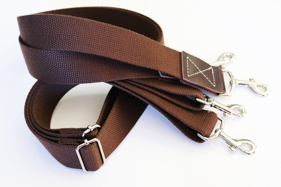 1.50 inch wide - adjustable cotton webbing shoulder strap - Silver hardware