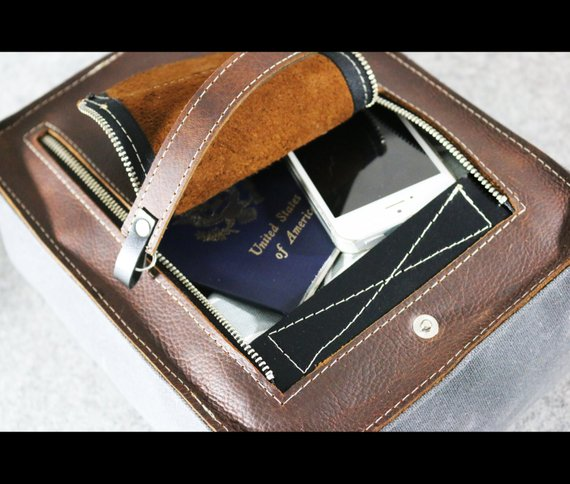 Zippered Oiled Leather Toiletry bag - cosmetic bag - travel bag by AlexMLynch - made in USA