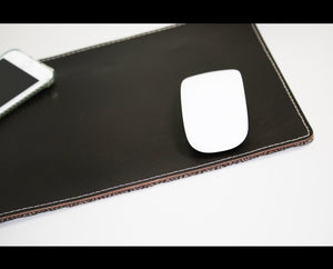 Leather mouse pad - wool herringbone combination