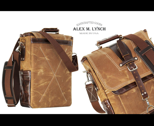 WAXED CANVAS VERTICAL LAPTOP BAG #010045.1